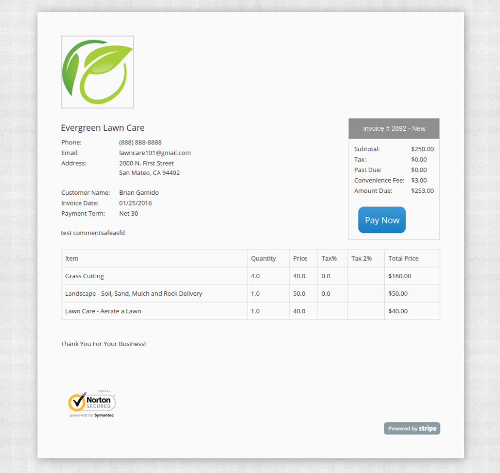 credit card payments yardbook tutorials customer invoice screen shot