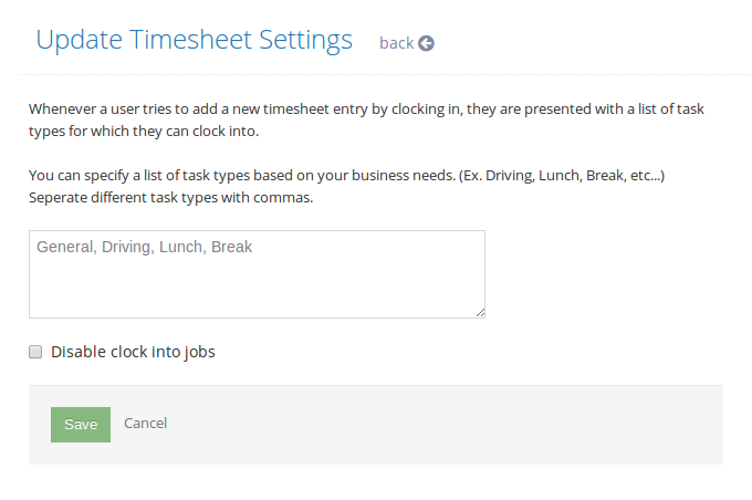 timesheet with lunch break